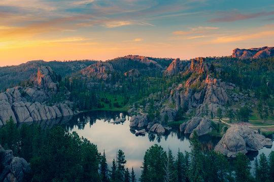 Sunset on Sylvan Lake, South Dakota