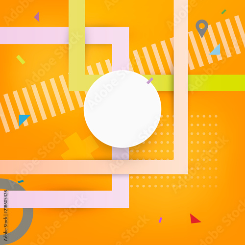 Abstract Background With Geometric Shapes Design With Orange