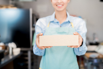 Mid section portrait of unrecognizable woman wearing apron holding box with takeaway food and smiling happily