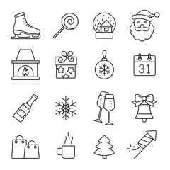 New Year related icons: thin vector icon set, black and white kit