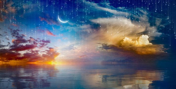 Vibrant surreal background - crescent moon rising above serene sea