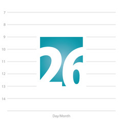 2019 Calendar day 26 planner blue background