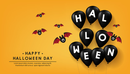 happy halloween day banner vector design