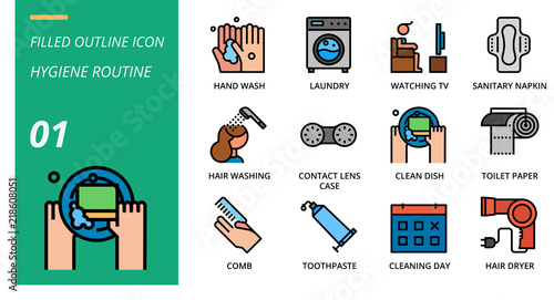 Filled Outline Icon Pack For Hygiene Routine Hand Wash Laundry