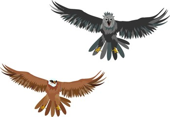 Isolated vector illustration of 2 eagles