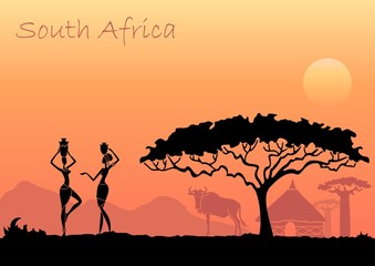 African women against the African sunset. Vector background