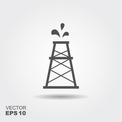 Oil rig vector. Flat icon with shadow