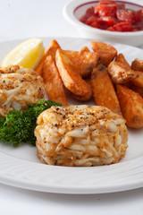 crab cake dinner on plate