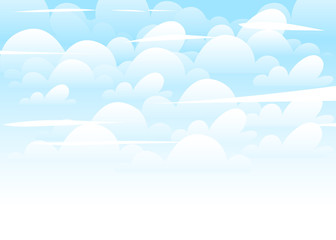 Blue sky with white clouds background. Flat cartoon style illustation