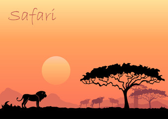 African landscape with wild animals. Vector illustration