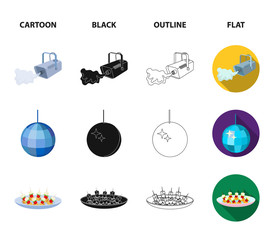 A video camera with smoke, a twirling holiday ball, a plate of sandwiches, an envelope with a greeting card. Event services set collection icons in cartoon,black,outline,flat style vector symbol stock
