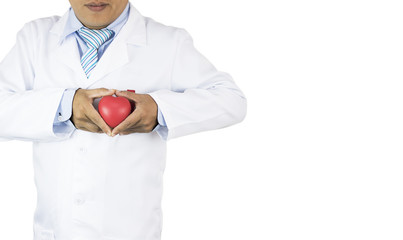 doctor holding red heart isolated, Prevent heart disease, copy space