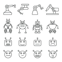 Robot related icons: thin vector icon set, black and white kit