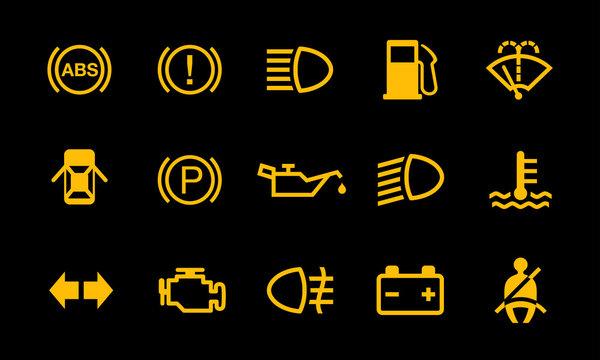 Car Dashboard Sign Indicator System Symbols