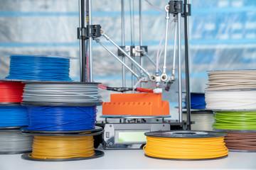 Fototapeta color plastic PLA and ABS filament for printing on a 3D printer obraz