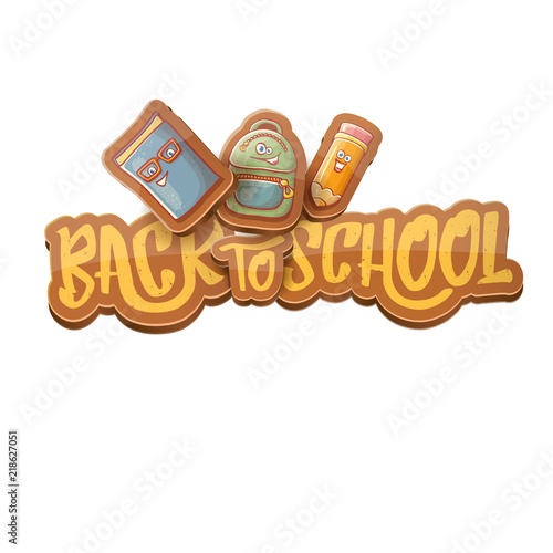 Back to school vector characters background with funny