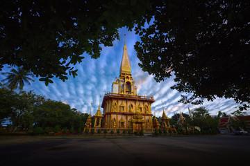 Phra Chedi Maha Chai Mongkol at Chalong Temple Phuket. The duration of the cloud Altocumulus.