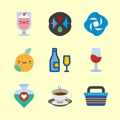 9 drink icons set