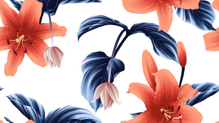 Seamless pattern, orange lily flowers and Medinilla magnifica flowers with blue leaves on white background, green, red and white tones