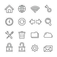 Web related icons: thin vector icon set, black and white kit