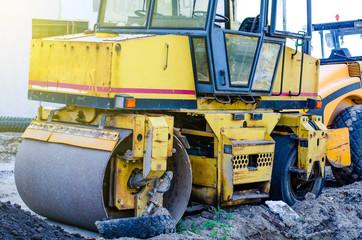 Construction truck bulldozer cement transport road build building sun blue sky