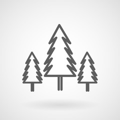 Three conifer pine trees in a forest line art icon, vector, illustration, eps file