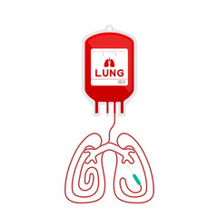 Blood bag red color and Lung organ sign shape made from cord illustration flat design isolated on white background, with copy space