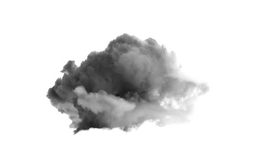 Single black cloud isolated on white background