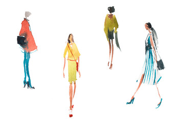 Different types of women top trends in fashion Watercolor illustration Quick sketch drawing.