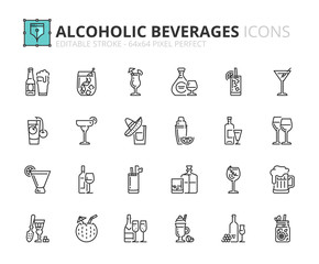 Outline icons about alcoholic beverages