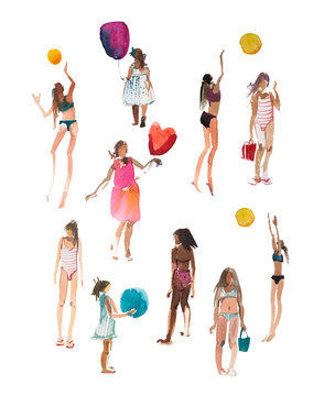 Summer vacation and activities. Young women, girls in swimsuits walking, playing beach volleyball