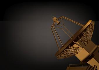 Golden satellite dish on a black