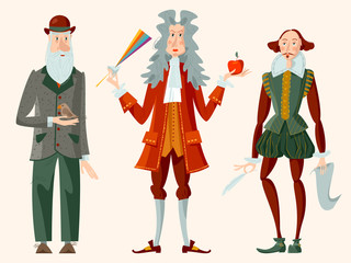 History of England. Famous people. William Shakespeare, Isaac Newton, Charles Darwin.