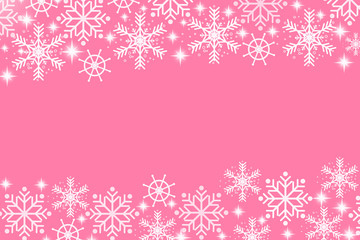 Beautiful white snowflakes on pink background