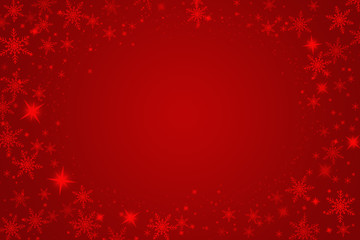 Beautiful snowflakes on a red background.