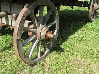 Old cart with wooden wheels. Wooden wagon on green grass, farm background