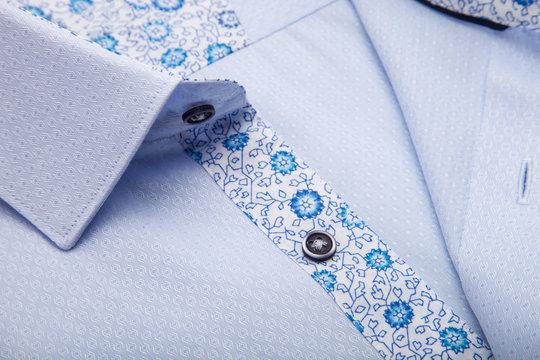 Piece of cotton shirt. Pure cotton fabric. Classic men's shirt collar detail