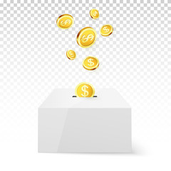 Golden Coin Drop into Money Box. Donation and Charity. Donate money concept. Golden coin fund in money box. Vector illustration isolated on transparent background