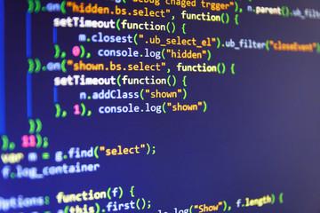 Big data storage and cloud computing representation. Developing programming and coding technologies. Background of software developer script. Programmer developer screen.
