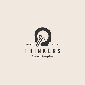 smart human head think bulb idea logo hipster vintage emblem vector icon illustration