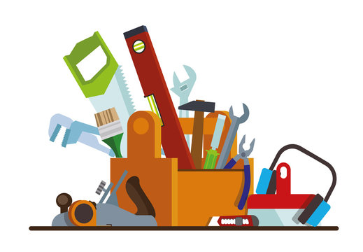 Tool box with tools. The box with the repair and construction working tools. Tool set repair and construction. Flat style. Flat design. Vector illustration Eps10 file