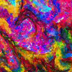 Oil painting abstract background in fashion impressionism style. Hand drawn pattern for design work. Template for decor print products. Modern contemporary art. Splashes of paint. Soft brushstrokes.