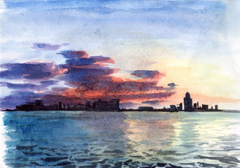 Watercolor landscape with the sea. Sunset in the big city. Hand drawn nature background.