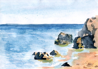 Watercolor landscape with the sea.  Hand drawn nature background.