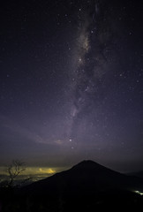 Night sky with stars and milky way subject is blurred and noise.