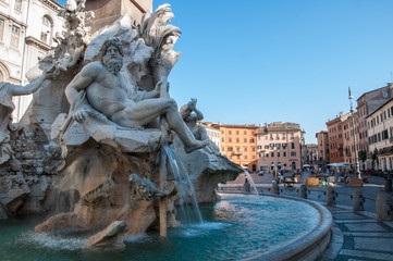 Foto op Aluminium Rome Rome, Italy. Four Rivers fountain in Piazza Navona. Rome ancient stadium for athletic contests (Stadium of Domitian). Rome Navona Square is one of the best known landmarks of rome.