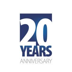 20 Years Anniversary blue white logo icon banner