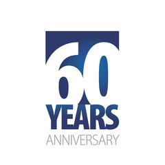 60 Years Anniversary blue white logo icon banner