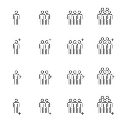 People Icons Line work group Team Vector, Business Meeting Communication.