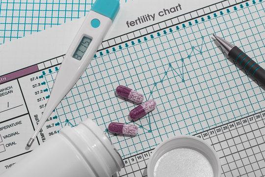 Planning of pregnancy. The fertility chart Horizontal